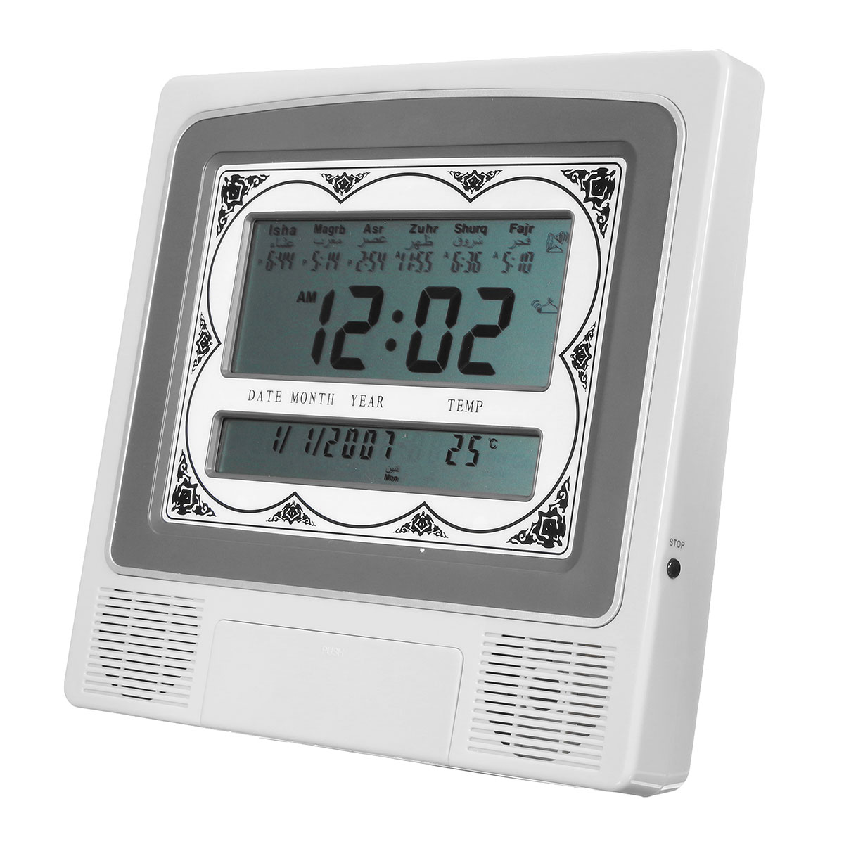 2 Ways LCD Automatic Digital Islamic Azan Muslim Prayer Alarm Wall Table Home Clock with Temperature Display