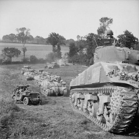 LAMINATED POSTER The British Army in Normandy 1944 A column of Sherman tanks of 2nd Irish Guards, Guards Armoured Div Poster Print 24 x 36 (Ms Guard Column)