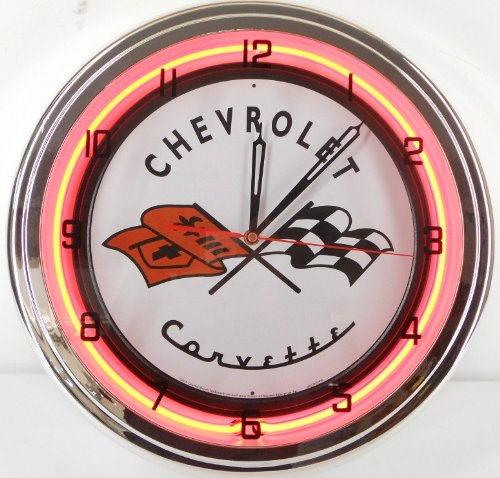 Chevy Corvette Flags 15' Neon Lighted Wall Clock Sign Orange