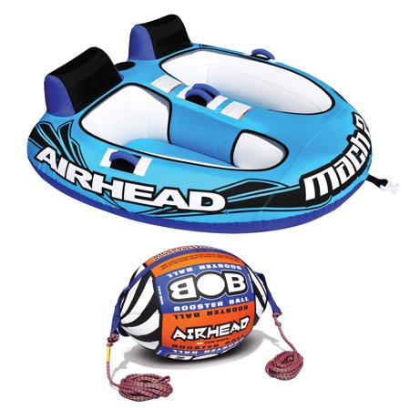 Airhead Mach 2 Inflatable 2 Rider Lake Water Towable Tube w/ Tow Rope Buoy - Riders Ball