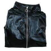 PVC Leather Zip Clubwear Catsuit Dress Front Costume Halloween Women Black Adult XL