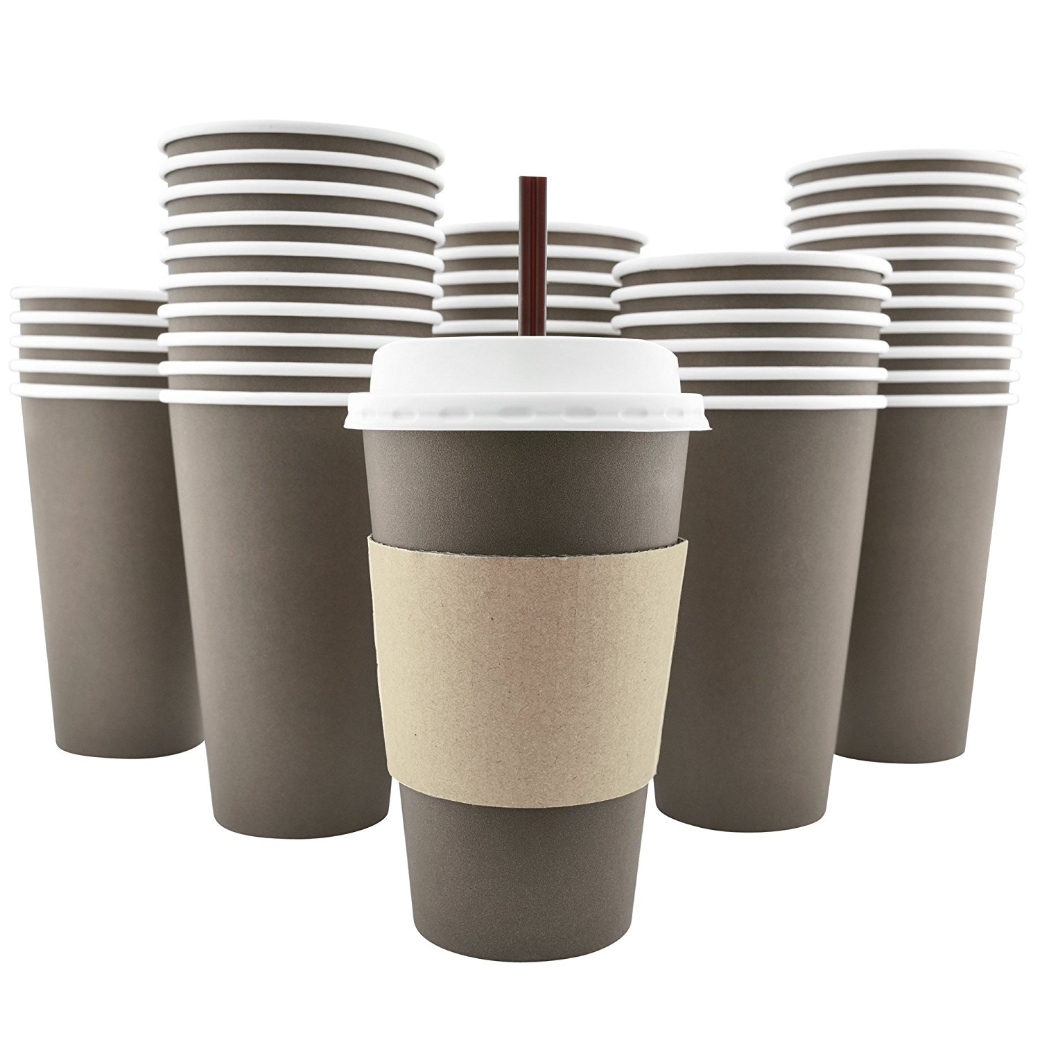 100 Pack 16 Oz [8, 12, 20 Available] Disposable Hot Paper Coffee Cups, Lids, Sleeves, Stirring Straws Mocha... by AckBrands LLC