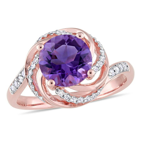 1-5/8 Carat T.G.W. Amethyst, White Topaz and Diamond-Accent Rose-Plated Sterling Silver Swirl Ring
