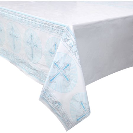 Radiant Cross Religious Plastic Table Cover, 84 x 54 in, Blue, 1ct - Bulk Plastic Table Covers