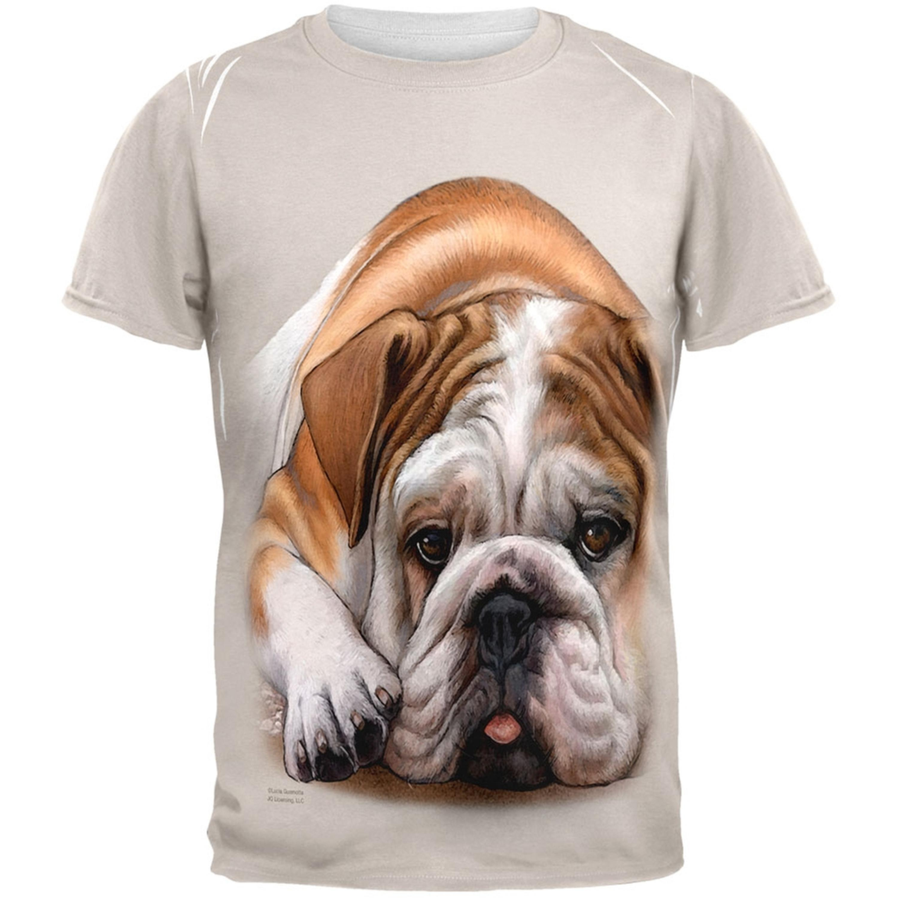 English Bulldog Live Forever All Over Adult T-Shirt