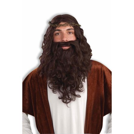 Biblical Beard Set Brown Jesus Wig Adult Mens Hair Kit Costume Accessory