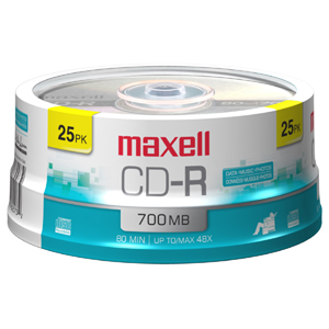 Maxell 48X CD-R Media - 700MB - 120mm Standard - 25 Pack Spindle