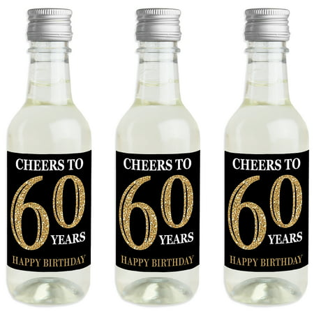 Adult 60th Birthday - Gold - Mini Wine and Champagne Bottle Label Stickers - Birthday Party Favor Gift for Women and Men - Wine Party Favors