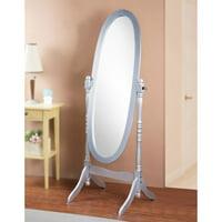 GTU Furniture Swivel Adjustable Full-Length Oval Wood Cheval Floor Mirror