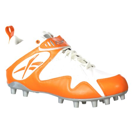 REEBOK MEN'S PRO ALL OUT ONE MID MP WHITE ORANGE MOLDED FOOTBALL CLEATS 12.5 M (Alpha Pro Cleats)