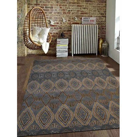 Rugsotic Carpets Hand Knotted Wool 5'x8' Area Rug Geometric Light Blue N00803 - Hand Knitted Wool