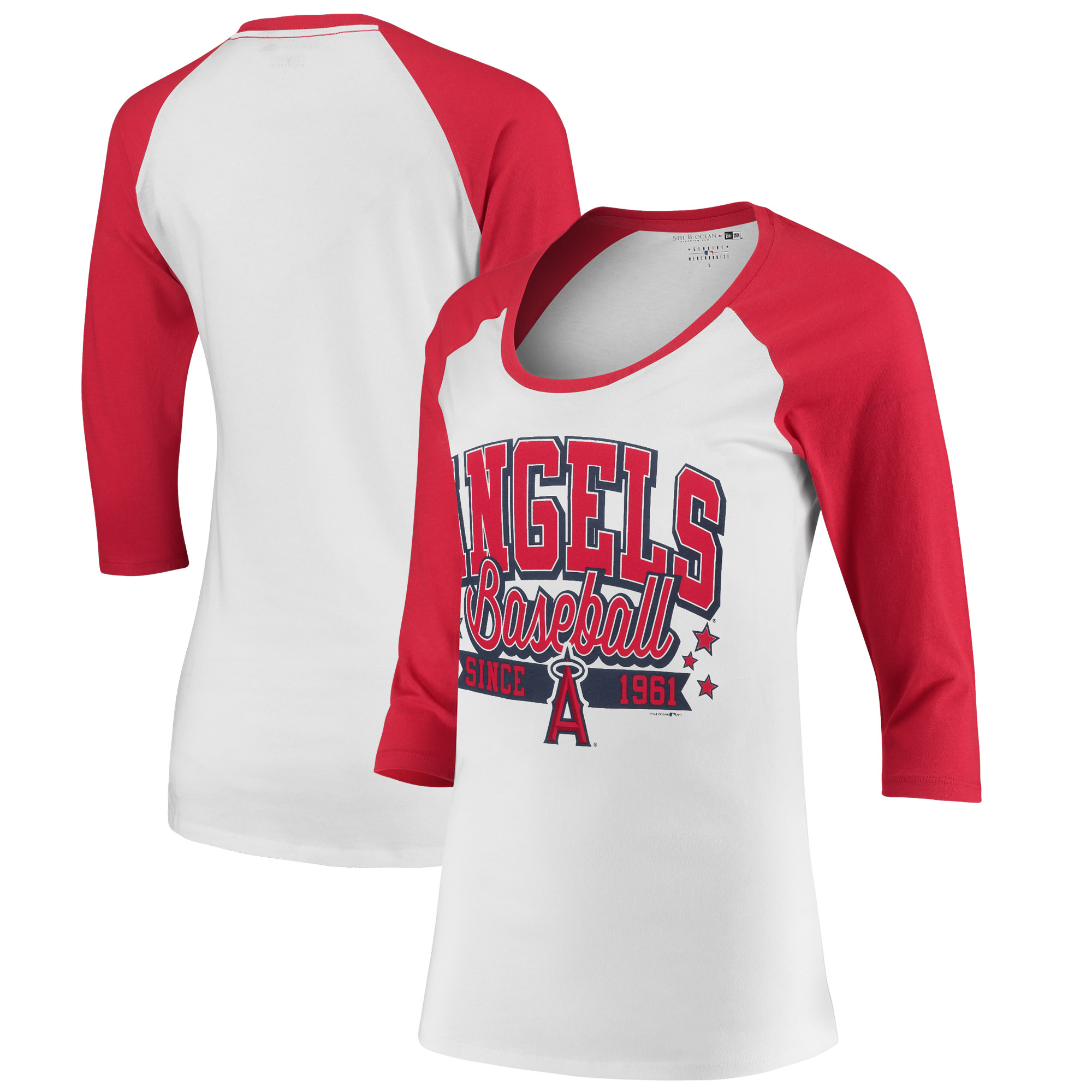 Los Angeles Angels 5th & Ocean by New Era Women's Team Banner 3/4-Sleeve Raglan T-Shirt - White/Red