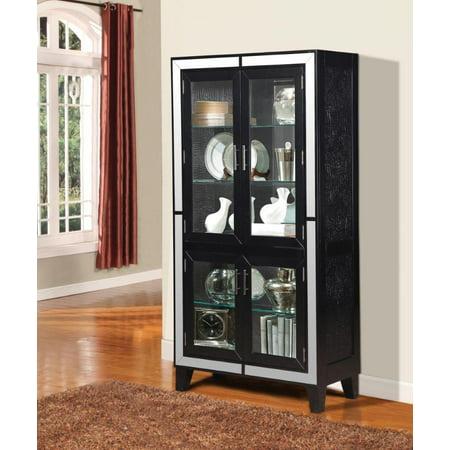 90171 Caree Curio Cabinet  Black Crocodile PU