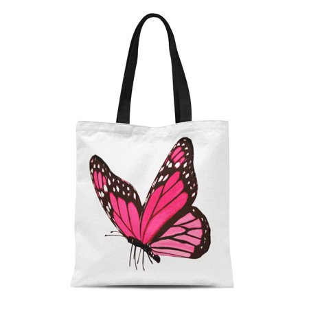 ASHLEIGH Canvas Tote Bag Colorful Wings Pink Butterfly White Flying Black Abstract Beauty Reusable Shoulder Grocery Shopping Bags