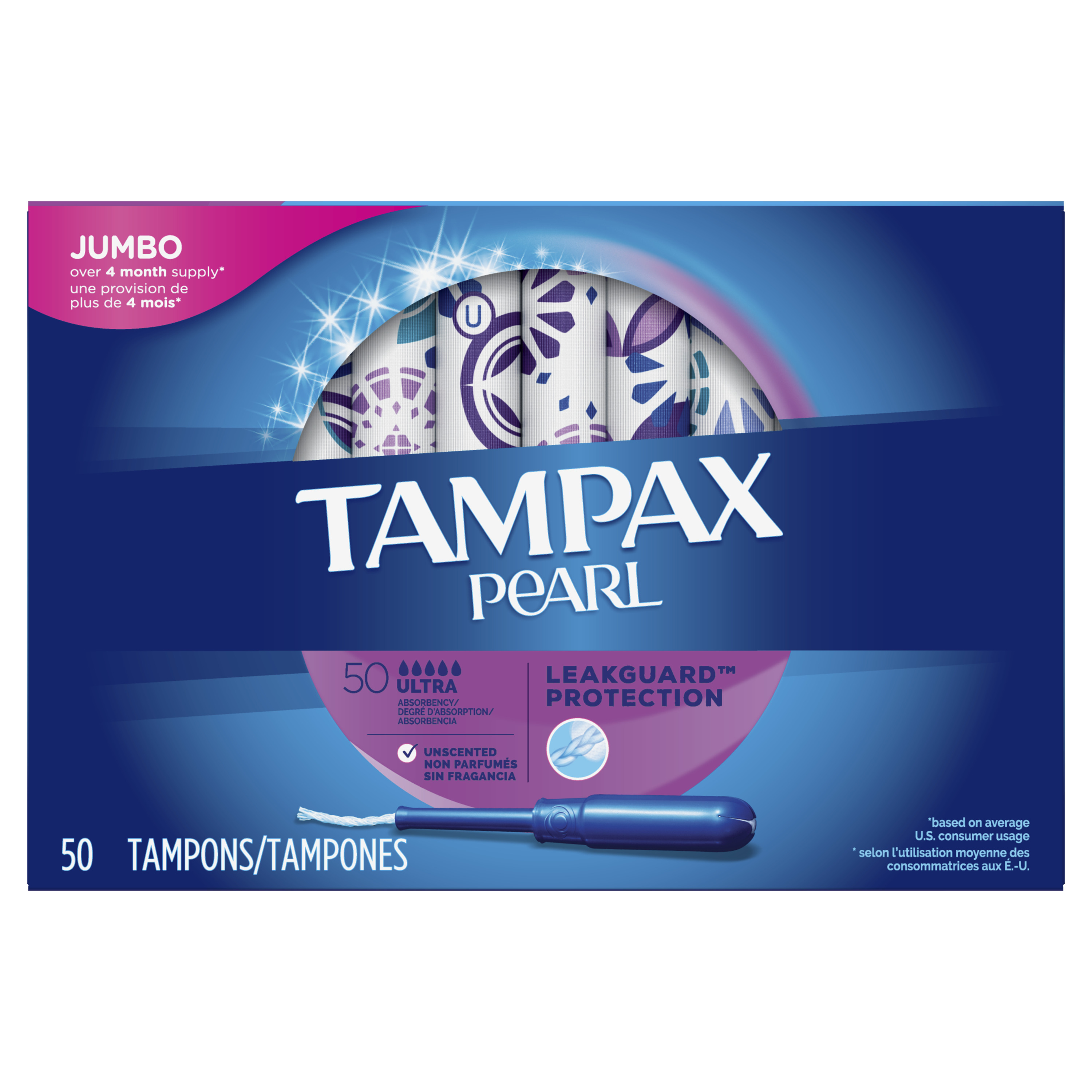 TAMPAX Pearl, Ultra, Plastic Tampons, Unscented, 50 Count
