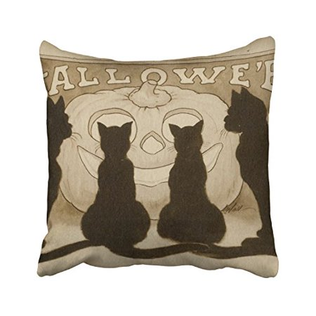WinHome Happy Halloween Four Black Cats And A Funny Pumpkin Decorative Pillowcases With Hidden Zipper Decor Cushion Covers Two Sides 18x18 inches
