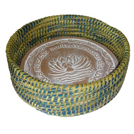 Warming Bread Basket with Lotus Warmer Tile Stone Hand Woven For Rolls Appetizers 12 In W (River City Blue and Green Teal) ()