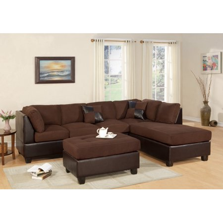 Sectional Sofa Modern Fabric Microfiber Faux Leather Sectional Sofa 3PC 6  Color
