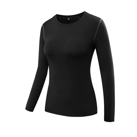 Funcee US Women Long Sleeve Compression Athletic Tight Sports T-Shirts Tops