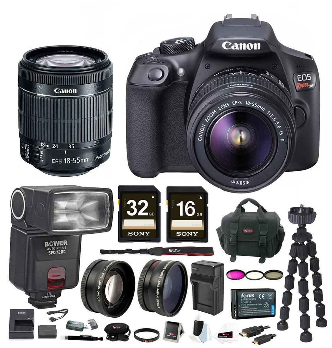 Canon T6 EOS Rebel DSLR Camera w/ EF-S 18-55mm IS II