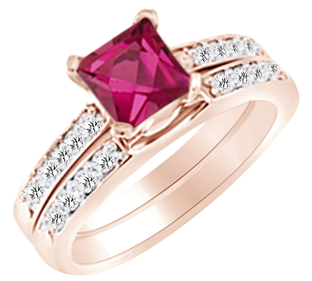 (1.42 cttw) Simulated Pink Sapphire & White Natural Diamond Engagement Wedding Ring Set In 14k Rose Gold With Ring Size... by Jewel Zone US