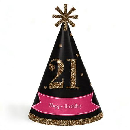 Finally 21 Girl - 21st Birthday - Cone Happy Birthday Party Hats - Set of 8 (Adult Size) - Happy Birthday Adults