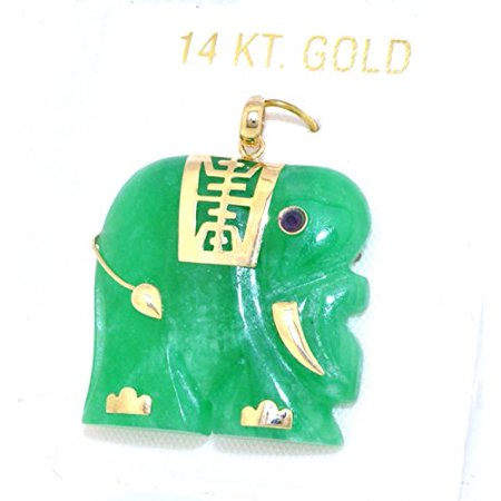 - 14K Yellow Gold Jade Elephant Charm With Ruby Eye