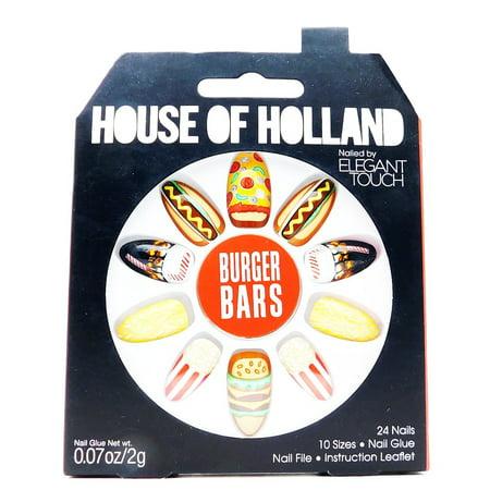 - House of Holland Nailed by Elegant Touch Burger Bars Food Fingers: 24 nails, nail glue .07 Oz., nail file