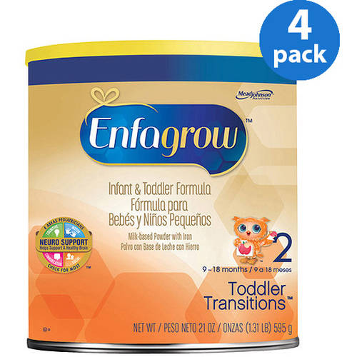 Enfagrow Toddler Transitions Infant and Toddler Formula -- 20 oz Powder Can, Pack of 4