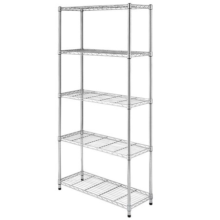 Ktaxon 5-Tier Wire Rack Metal Shelf Adjustable Unit Garage Kitchen Storage (Adjustable Wire Shelving)