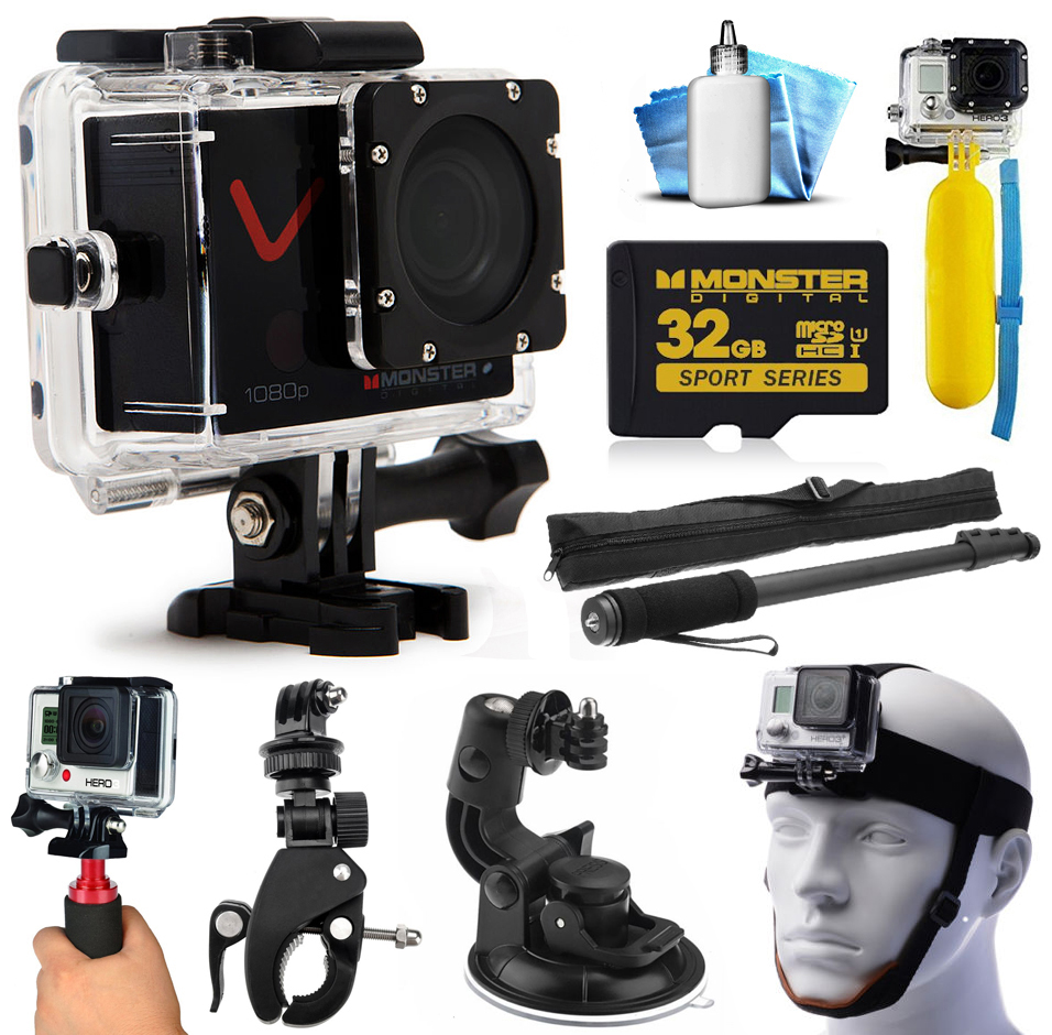 Monster Digital Villain 1080P Ultra HD Action Sports Waterproof WiFi Camera + LCD + Monopod + 32GB Memory + Chin Strap + Handgrip + Suction Mount + Cleaning Kit + More