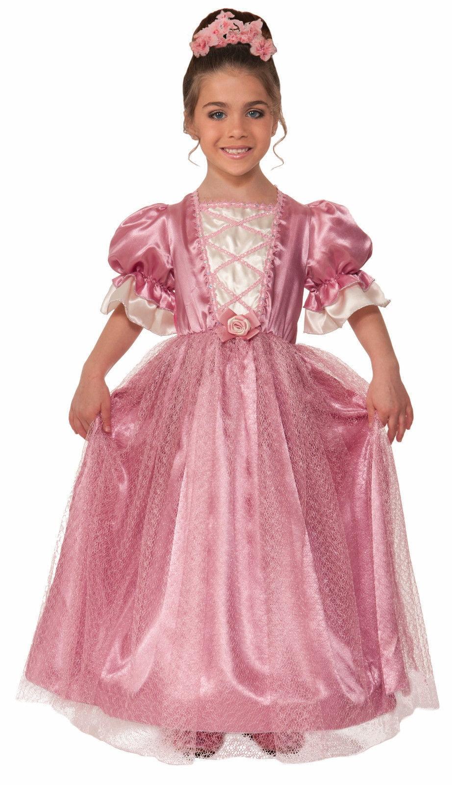 Elegant Princess Lady Rose Costume Fancy Dress Gown Pink Rose Hoop ...