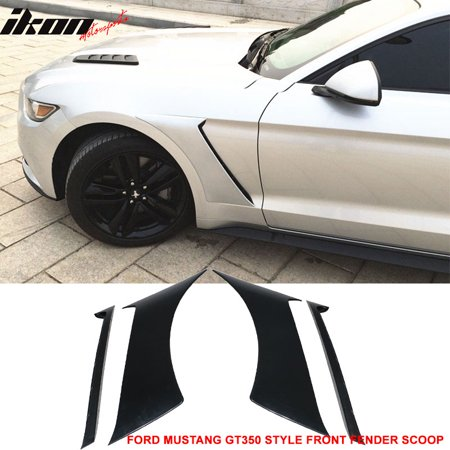 Mustang Xenon Side Scoops - Fits 15-18 Ford Mustang GT350 Style Front Side Fender Door Scoops Unpainted ABS