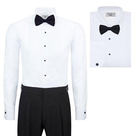 Boltini Italy Men's Premium Tuxedo Lay Down Collar Dress Shirt with Bow Tie (L - Sleeve: - Boys Tuxedo Shirt And Bow Tie