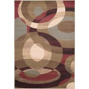 3' x 8' Elegant Orbits Burgundy and Khaki Shed-Free Area Throw Rug