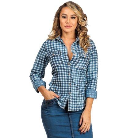 Womens juniors blue plaid button down jean denim shirt for Women s plaid button down shirts