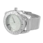 Mesh Band Mens Watch Ice Master White Gold Tone Water Resistant Joe Rodeo Aqua