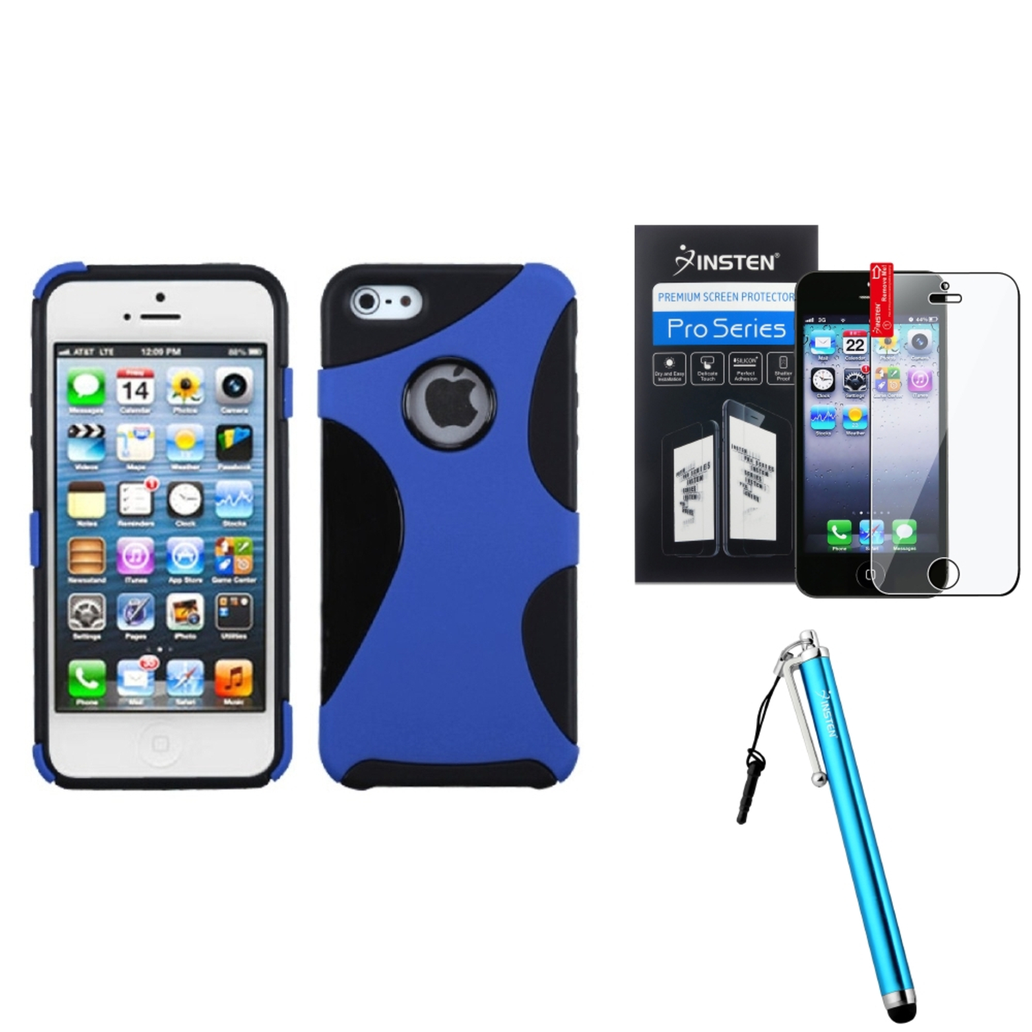 Insten Rubberized Dark Blue/Black Cragsman Mixy Case For iPhone SE 5S 5 + Stylus + Protector