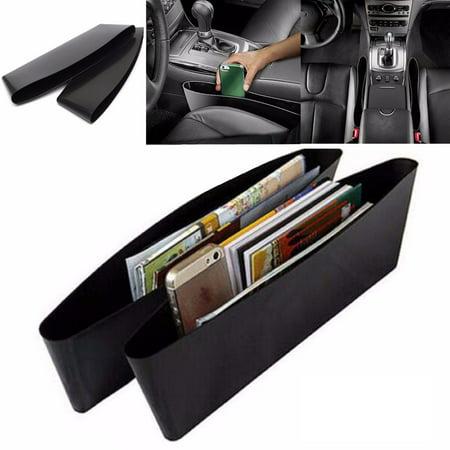 2 Pc Console Filler Seat Catcher Box Caddy Car Organizer Slit Pocket Storage Bag