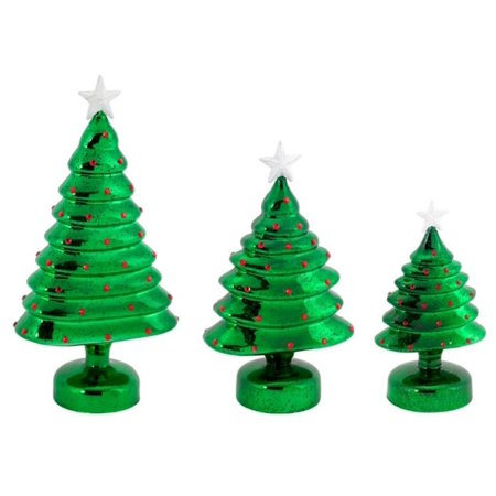 Pack Of 6 Bo Led Lighted Green Mercury Glass Christmas Trees Table