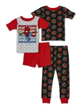 Spider-Man Toddler Boy Short Sleeve Snug Fit Cotton Pajamas, 4pc Set