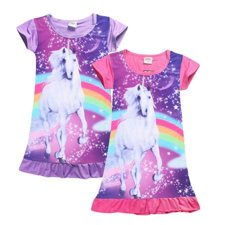 The Noble Collection Girls Kids Unicorn Dress Cartoon Children Pajamas Nightgown Sleepwear