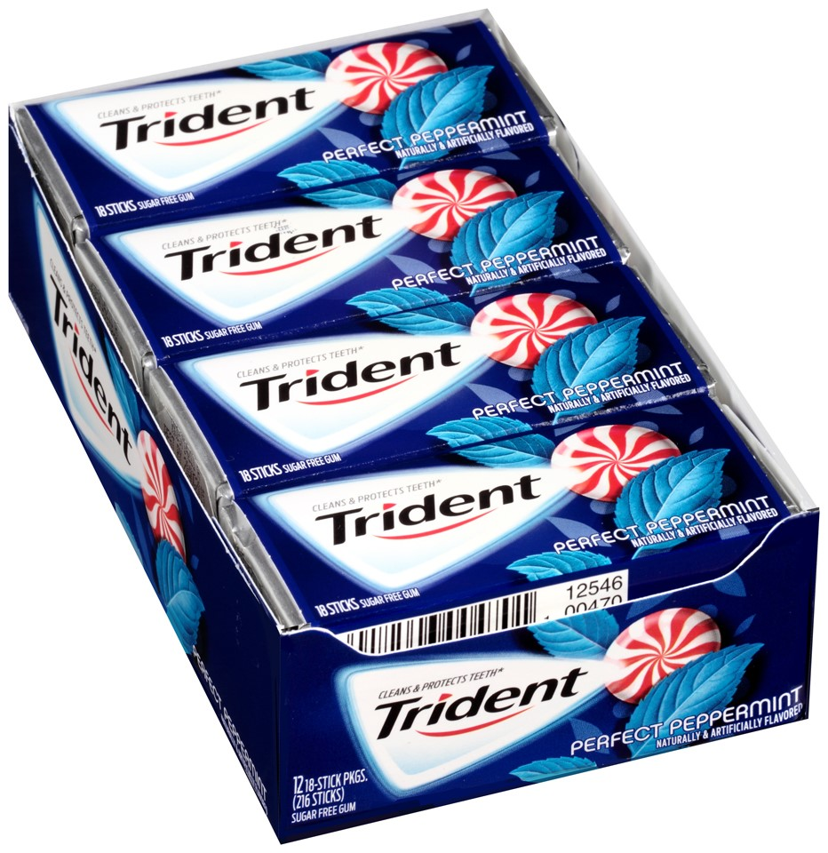 Trident Sugar Free Gum, Perfect Peppermint, 18 Pc (Innerpack of 12)