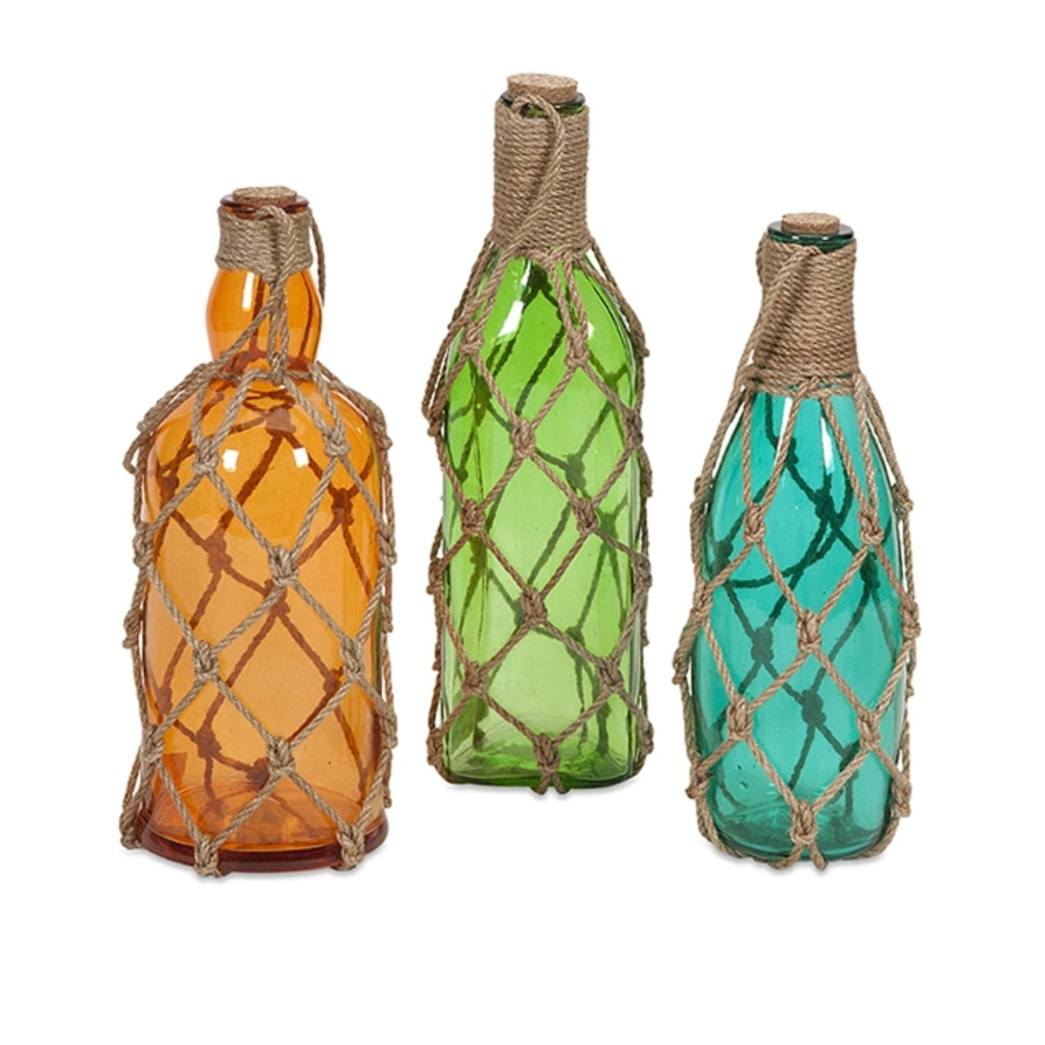 Set of 3 Colorful Translucent Glass Bottles with Jute Hangers - 12""
