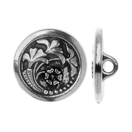 TierraCast Pewter, Circle Button with Flower Motif 17mm, 1 Piece, Antiqued Silver