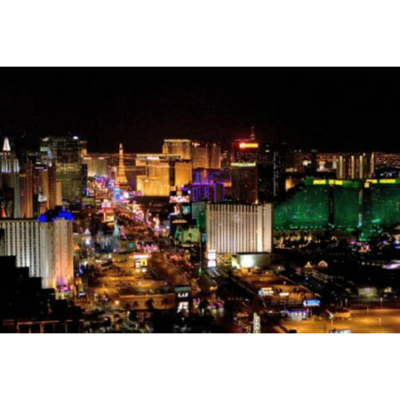 Halloween Events Las Vegas Strip (Las Vegas Poster The Strip At Night Mini poster 11inx17in (28cm)