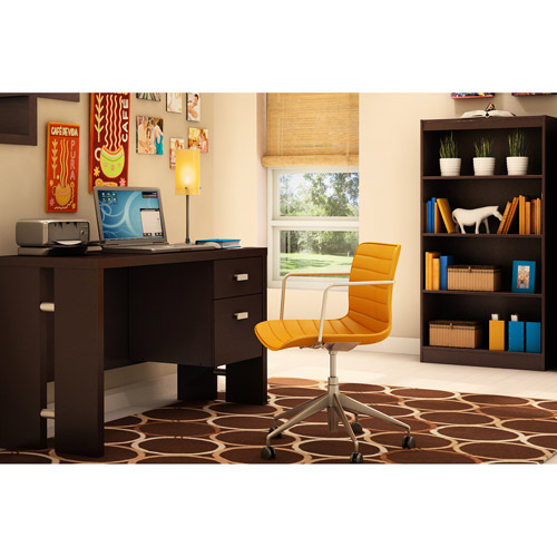 South Shore Element Desk and Bookcase, Chocolate