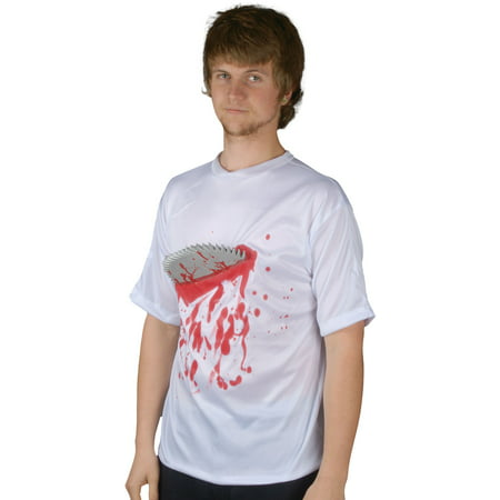 Halloween Costume Bloody Buzz Saw Circular Blade T-Shirt, White Red, One Size