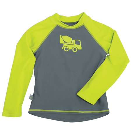 Sun Smarties Baby and Toddler Boy Rashguard - Grey and Green Truck - Long - Youth Long Sleeve Rash Guard