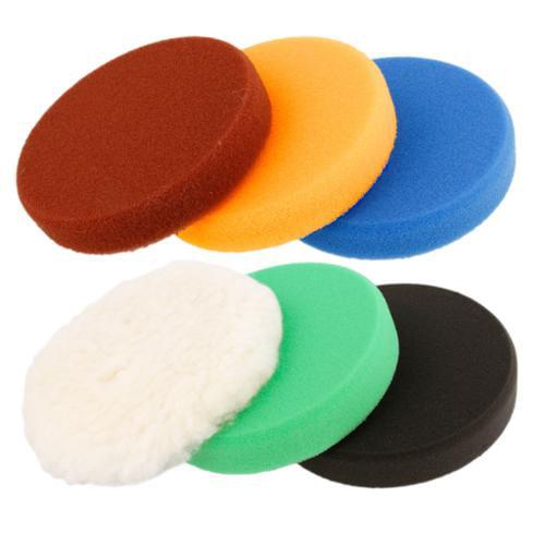 "Buffing & Polishing Pad Kit with 6 - 6.5"" Grip Pads; 5 Foam & 1 Wool Polish DA"